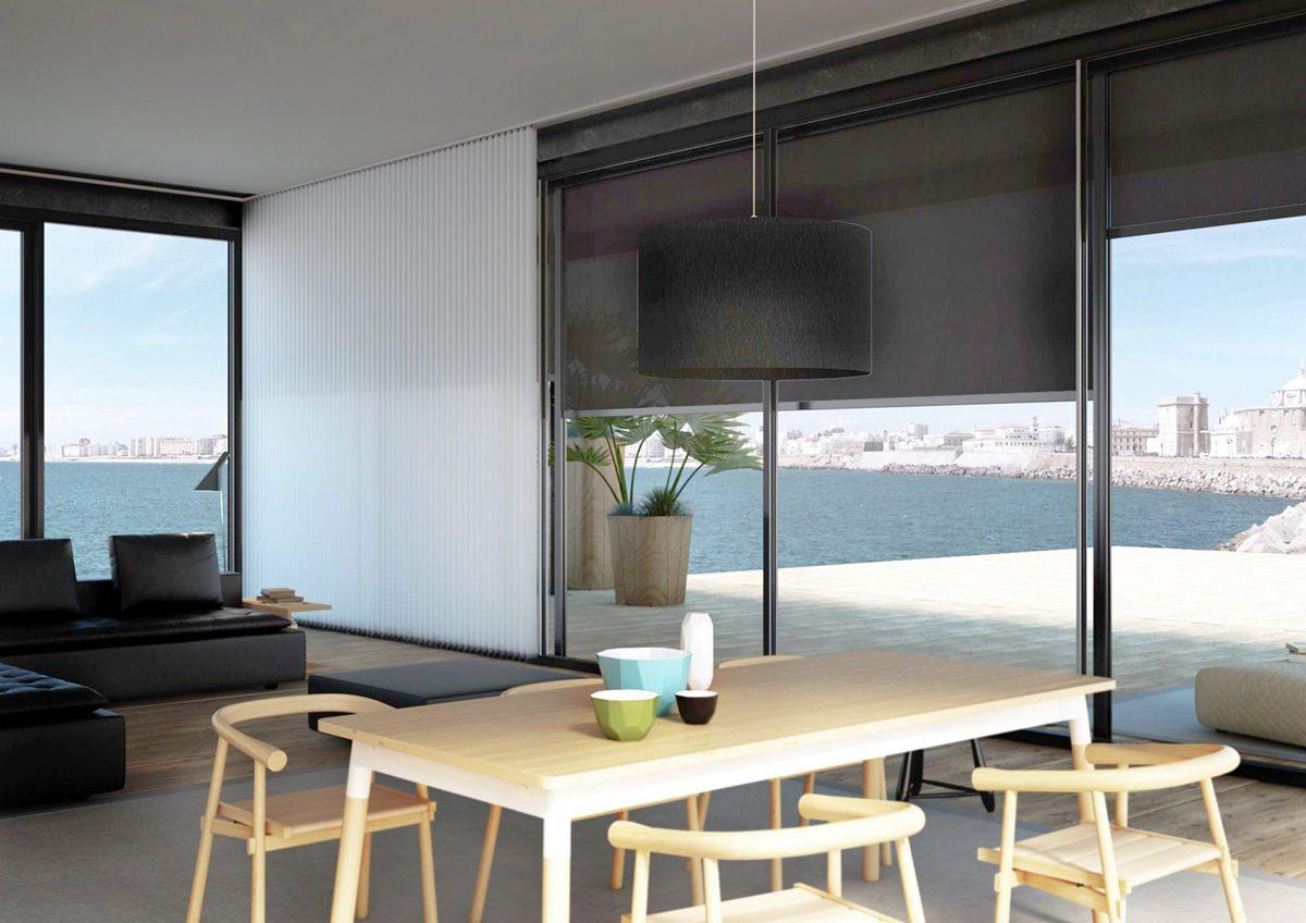 cortina vertical interior y estor enrollable exterior